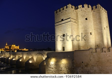 Tower of Calahorra, Roman bridge and mosque of Cordoba  at night. - Spain - stock photo