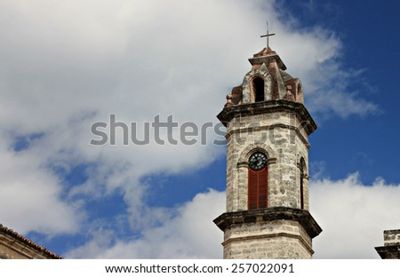 Tower of cathedral in Havana Cuba - stock photo