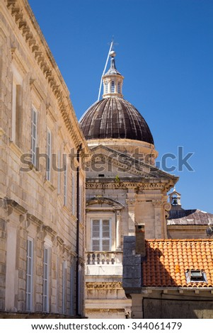 Tower of cathedral in Old Town of Dubrovnik in Croatia
