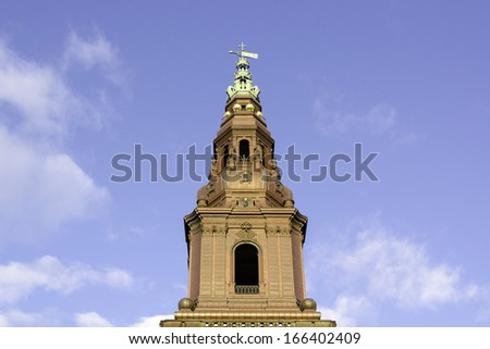 Tower of Christiansborg castle the Danish Parliament Building in Denmark - stock photo