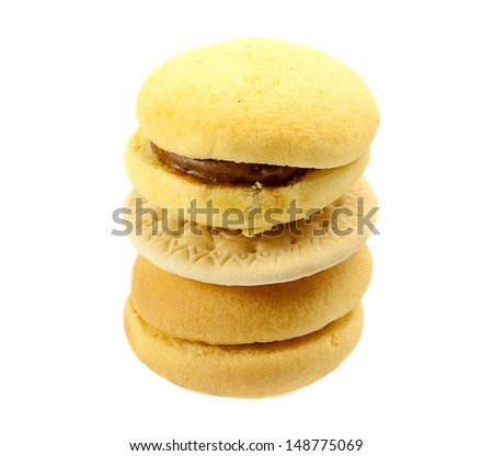 Tower of cookies isolated on white background - stock photo