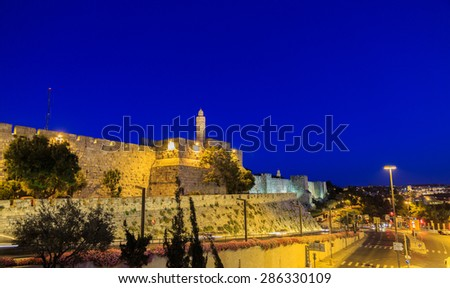 Tower of David and Jaffa street in Jerusalem, Israel  at night - stock photo