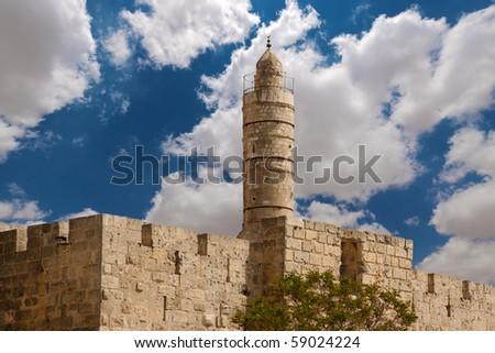 Tower of david, at the old city walls of Jerusalem - stock photo