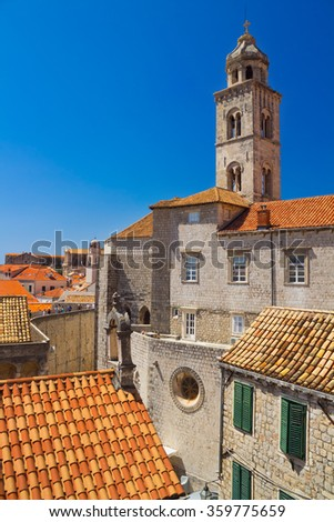 Tower of Dominican Church and Monastery in Dubrovnik from the old town walls, Croatia - stock photo