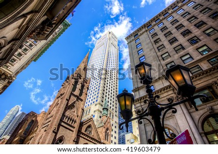 Tower of Fifth Avenue Presbyterian Church among Midtown Skyscrapers, Manhattan, New York - stock photo