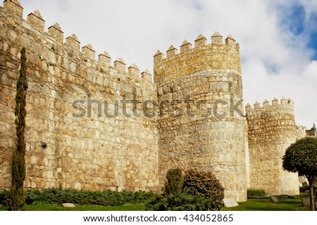 Tower of fortress wall in Avila at Castilla and Leon / Spain/ - stock photo
