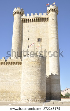 Tower of Fuensaldana castle. It is a plain castle located in the town of Fuensaldana, near the city of Valladolid, Castile and Leon Spain. - stock photo