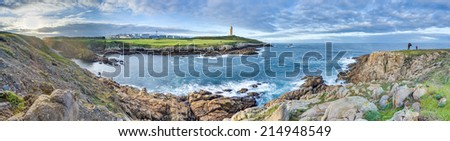 Tower of Hercules, the almost 1900 years old and rehabilitated in 1791 55 metres tall structure is the oldest Roman lighthouse in use today and overlooks the Atlantic coast of Spain from A Coruna. - stock photo