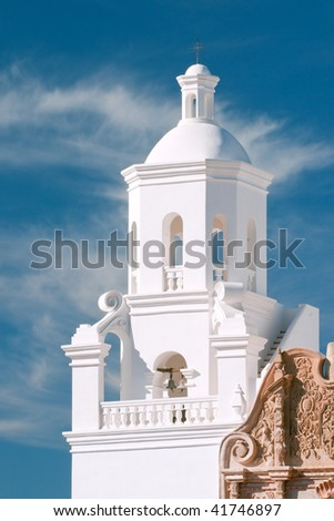 tower of historic san javier del bac mission in tucson arizona - stock photo