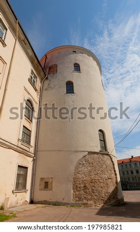 Tower of Holy Spirit (circa XIII c.) of Riga town fortifications. Since 1330 part of Riga castle of Livonian Order. World Heritage Site of UNESCO - stock photo