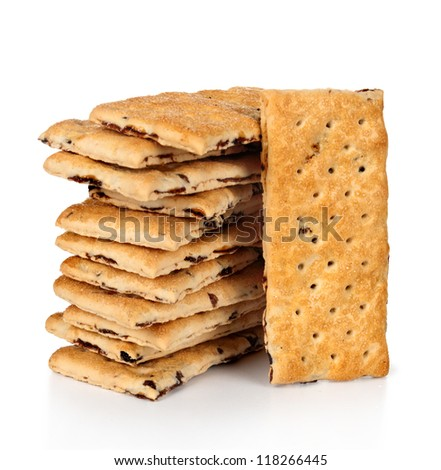 Tower of integral crackers on white background - stock photo