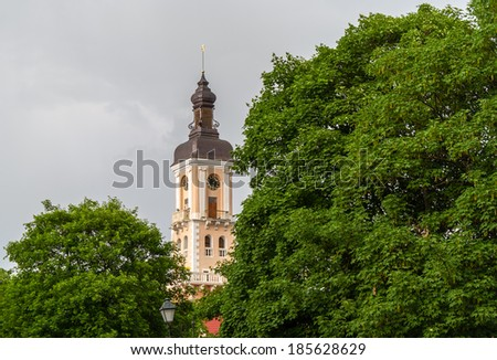 Tower of Kamianets-Podilskyi town hall. Ukraine - stock photo