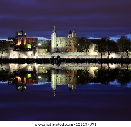 Tower of London  at night , panoramic view from river - stock photo