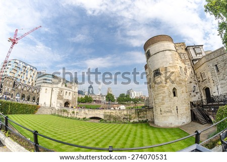 Tower of London in England, Ancient walls and garden.