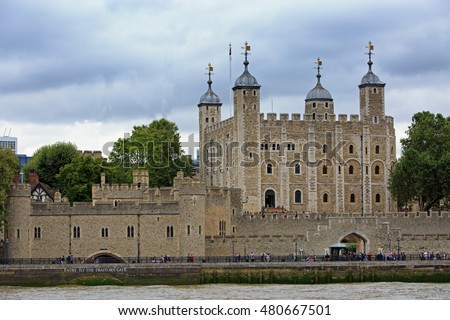 Tower of London on the bank of River Thames - September 2016 - Tourists flock to the capital to see this iconic building