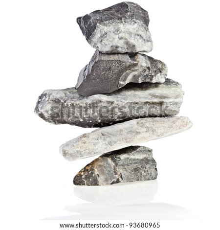 tower of marble stones isolated on white background