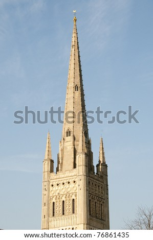 Tower of Norwich cathedral, England - stock photo