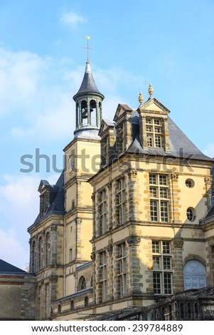 Tower of palace in Fontainebleau, France - stock photo