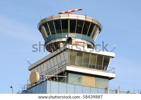 Tower of Prague airport - stock photo