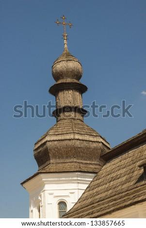 Tower of Refectory church of Saint Michael Gilded Orthodox cathedral of XVIII-th century Kiev, Ukraine - stock photo