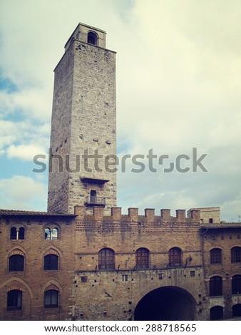 Tower of  San Gimignano. Tuscany, Italy - stock photo
