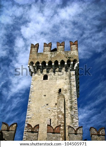 Tower of Scaligero Castle in Sirmione, Lombardy, Italy