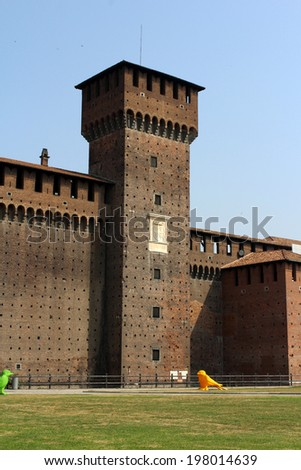 Tower of Sforza Castle, Castello Sforzesco, Milan, Italy - stock photo