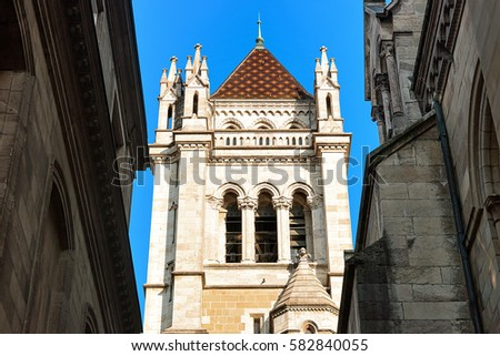 Tower of St Pierre Cathedral in the old town, Geneva, Switzerland