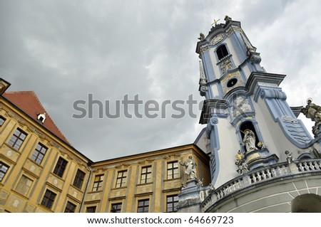 Tower of the Abby in Duernstein, Wachau, Austria - stock photo