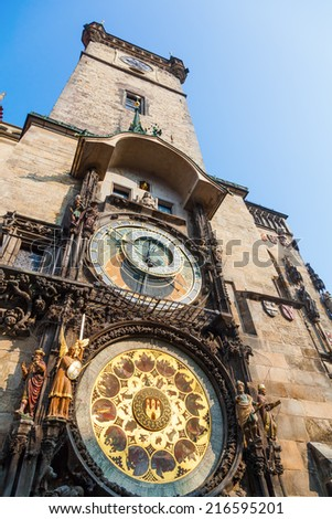 tower of the city hall in Prague, Czechia, with the world famous astronomical clock - stock photo
