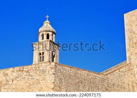 Tower of the Dominican Monastery of old Venetian town near the Adriatic sea, Dubrovnik, Croatia - stock photo
