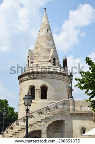 Tower of the Fisherman's bastion, Budapest, Hungary - stock photo