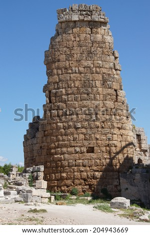 Tower of the Hellenistic Gate  in the ancient Greek city of  Perge,  Turkey