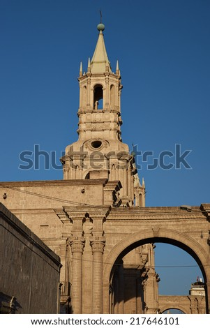 Tower of the main cathedral in the historic Spanish colonial city of Arequipa in Peru. - stock photo