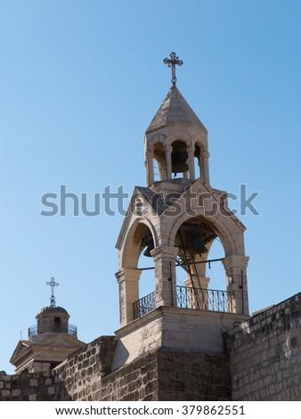 Tower of the Nativity church, Bethlehem, Palestine, Israel - stock photo