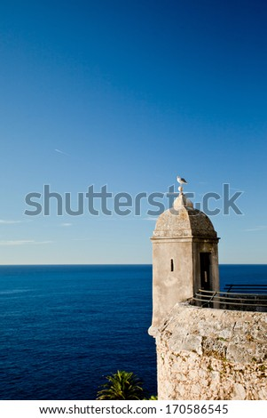 Tower on the waterfront of the Prince's Palace of Monaco, Cote d'Azur - stock photo