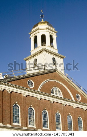Tower ot the Historical Faneuil Hall from Revolutionary America in Boston, Massachusetts, New England - stock photo