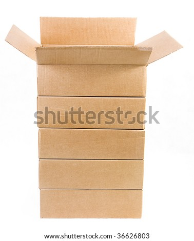 tower stack of cardboard boxes isolated