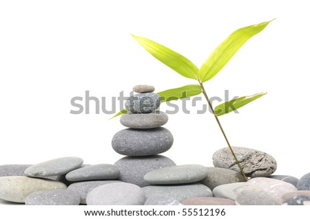 tower stone with bamboo leaf - stock photo