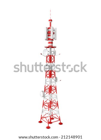 tower transmits different signals on a white background - stock photo
