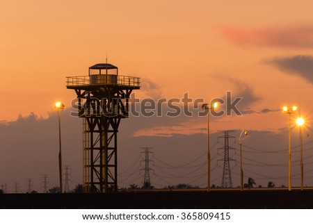 Tower View Room at Twilght time Thailand - stock photo
