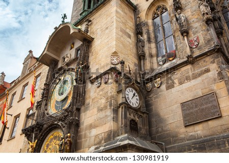 Tower with Astronomical Clock in Prague - stock photo