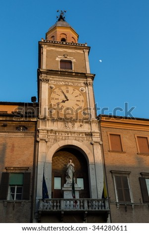 tower with bell and clock - stock photo