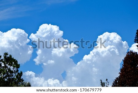 Towering Cumulus Clouds with blue sky background - stock photo