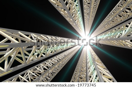 Towering lighting rig with bright concert light - stock photo