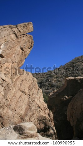 Towering outcrop of volcanic rock in a canyon, California - stock photo