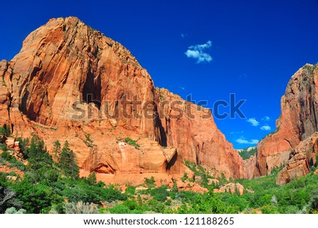 Towering rock formations at Zion National Park. - stock photo