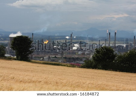 Towers and flares at Grangemouth Refinery