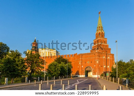 Towers and walls of Moscow Kremlin, Russia - stock photo