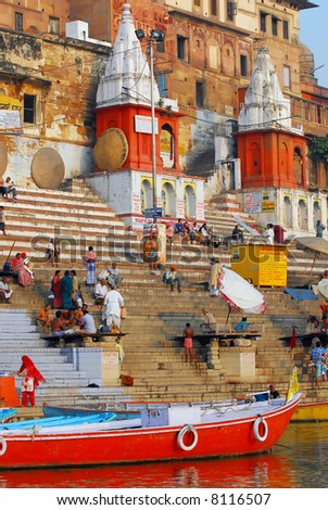 towers at the ghats in varanasi - stock photo